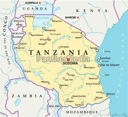 tansania political map