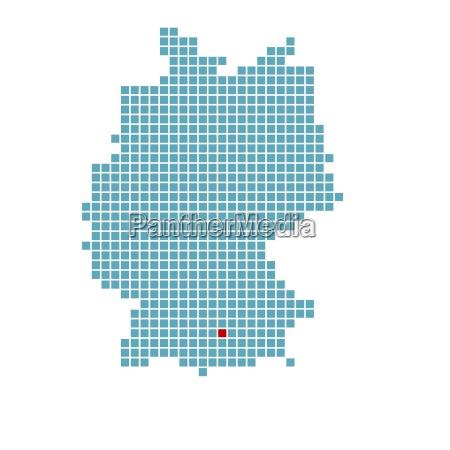 markierung von augsburg auf vereinfachter deutschlandkarte
