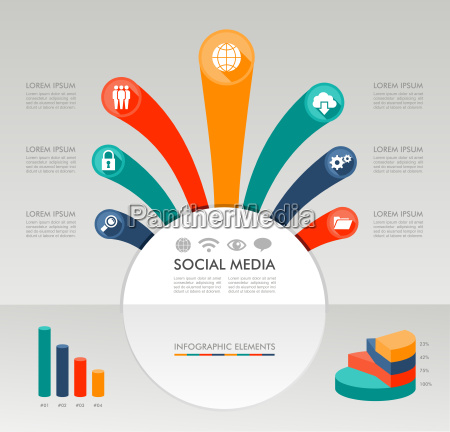 social media infographic template graphic elements