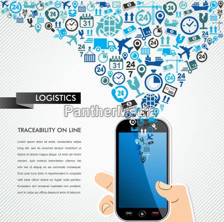 shipping logistics mobile human hand icons