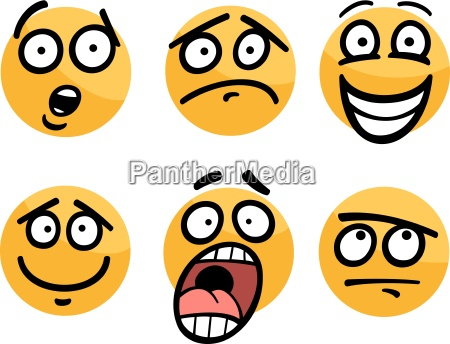 emoticon oder emotionen gesetzt cartoon abbildung