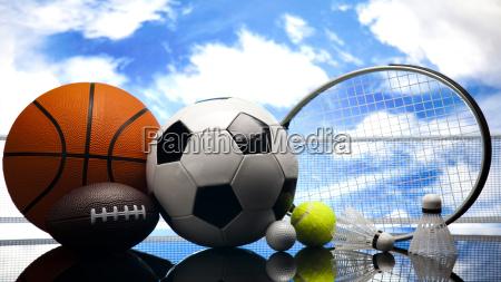 vier sport viele baelle und zeug