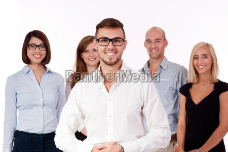 young successful business team group isolated