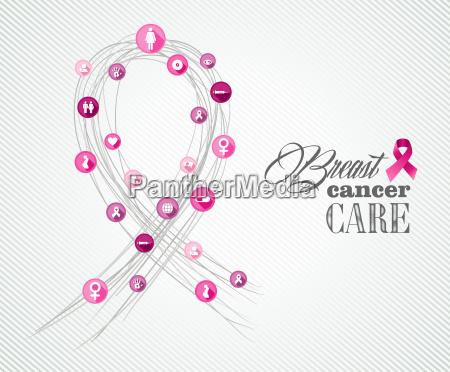 breast cancer awareness symbols concept banner