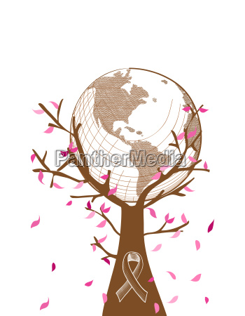 global breast cancer awareness concept tree