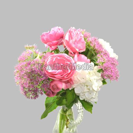 bouquet rose stonecrop hydrangea
