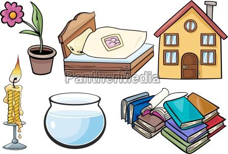 household objects cartoon illustration set