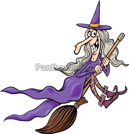 hexe auf besenkarikaturillustration