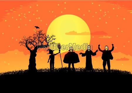 halloween mit silhouetten von kindern