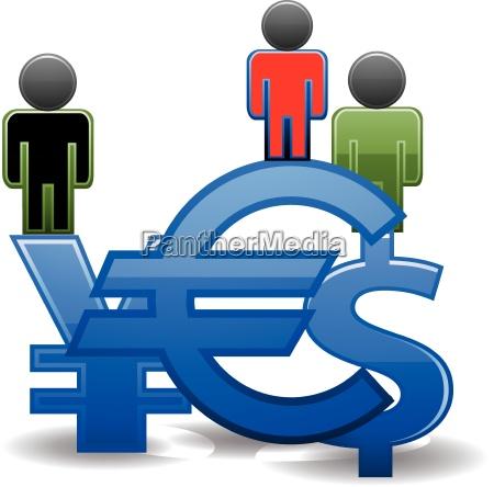 vector silhouettes man and monetary symbols