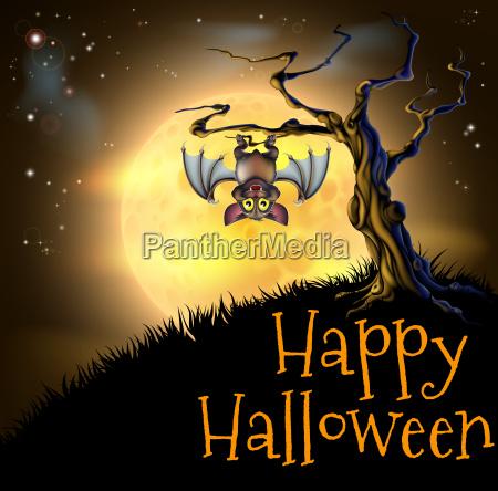 orange halloween vampire bat background