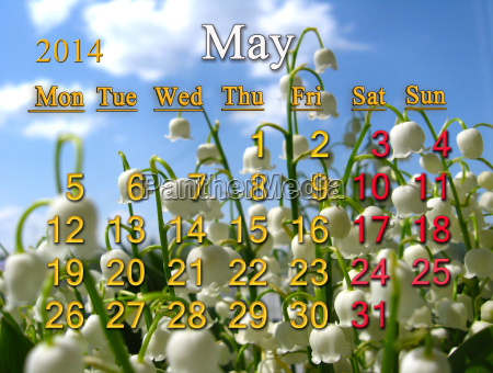 calendar for may of 2014 year