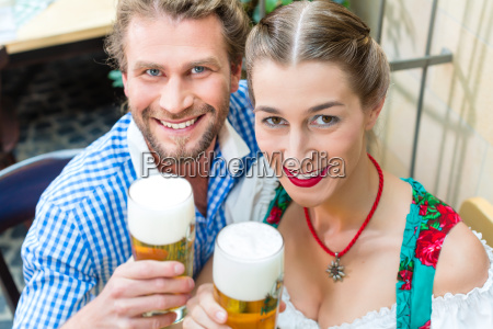 couple in bavarian tracht in a