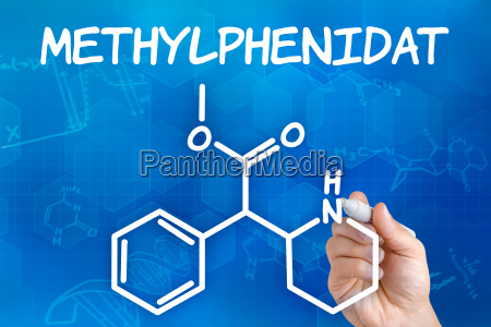 hand zeichnet chemische strukturformel von methylphenidat