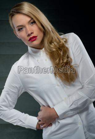 pretty seductive woman in a white