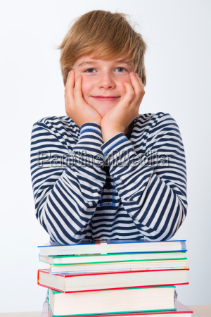 boy with his books
