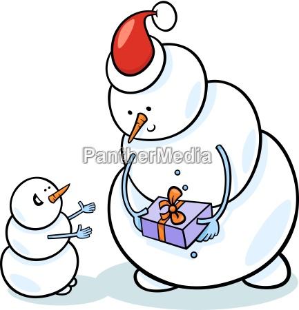 weihnachtsschneemaenner karikaturendarstellung