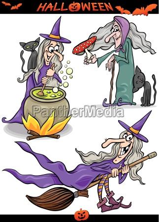halloween cartoon spooky themes set
