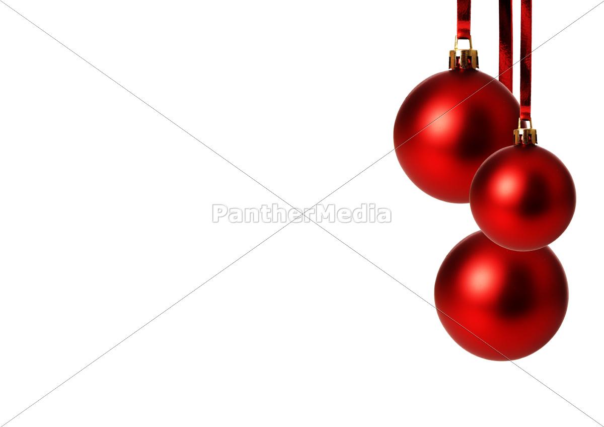 rote Weihnachtskugeln hängend, freigestellt mit - Lizenzfreies Foto ...