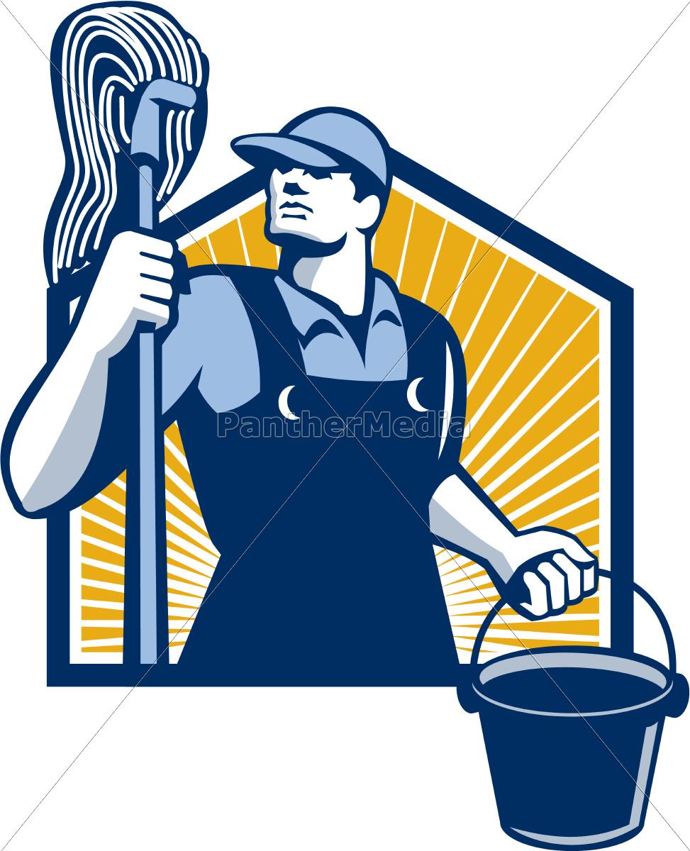 Hausmeister  hausmeister-reiniger-holding mop bucket retro - Stock Photo ...