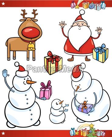 illustration weihnachtszeit christmas schneemann rentier garnitur