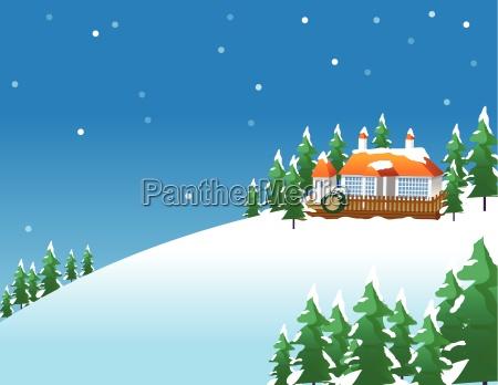 snowy winter scene in the countryside