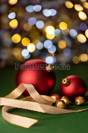 red christmas baubles gold jingle