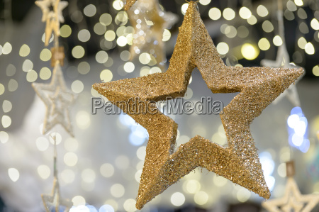 golden metallic star shiny christmas decoration