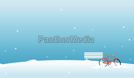 bicycle and bench in the snow