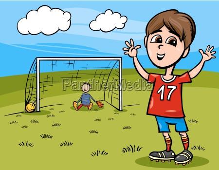 junge spielen fussball karikatur illustration