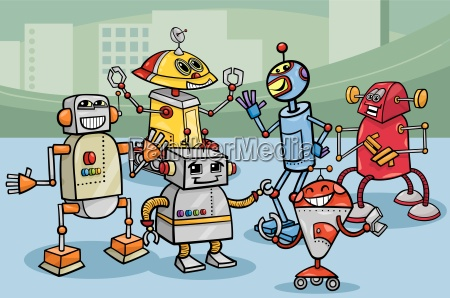robots group cartoon illustration