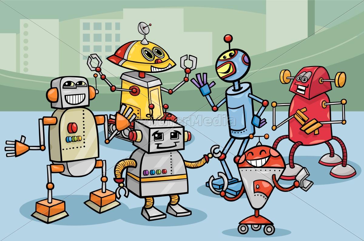 roboter, gruppe, cartoon-abbildung - 10085900