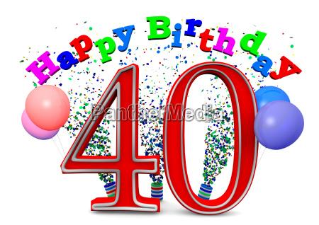 eine, 40, mit, happy, birthday, und - 10092196