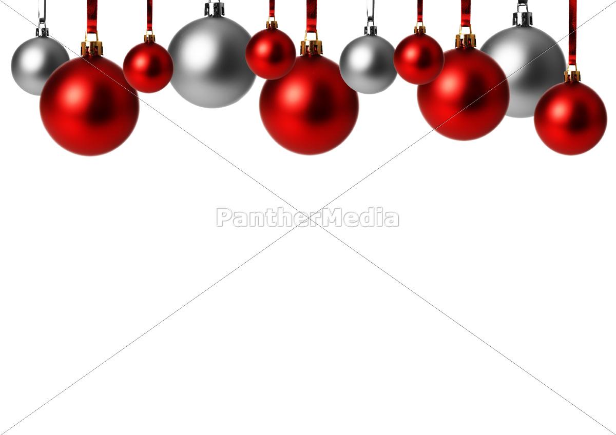 Rote und silberne weihnachtskugeln h ngend lizenzfreies for Weihnachtskugeln bilder