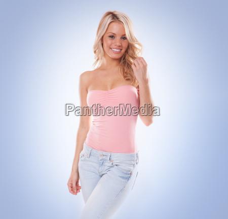 schöne, modische, junge, blonde, frau, - 10098672