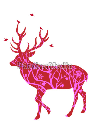 christmas deer with birds vector