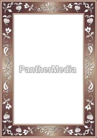 metallicbrauner rand mit silbernen deko elementen