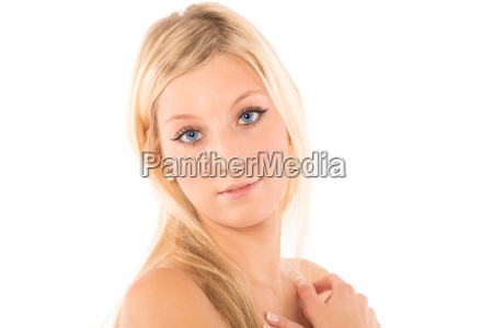 woman with bright blue eyes