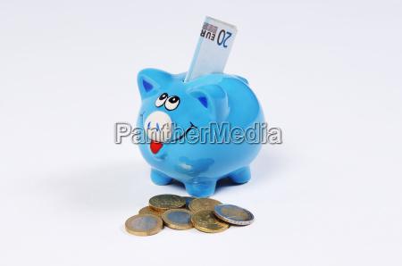 sparschwein mit 20 euro schein und