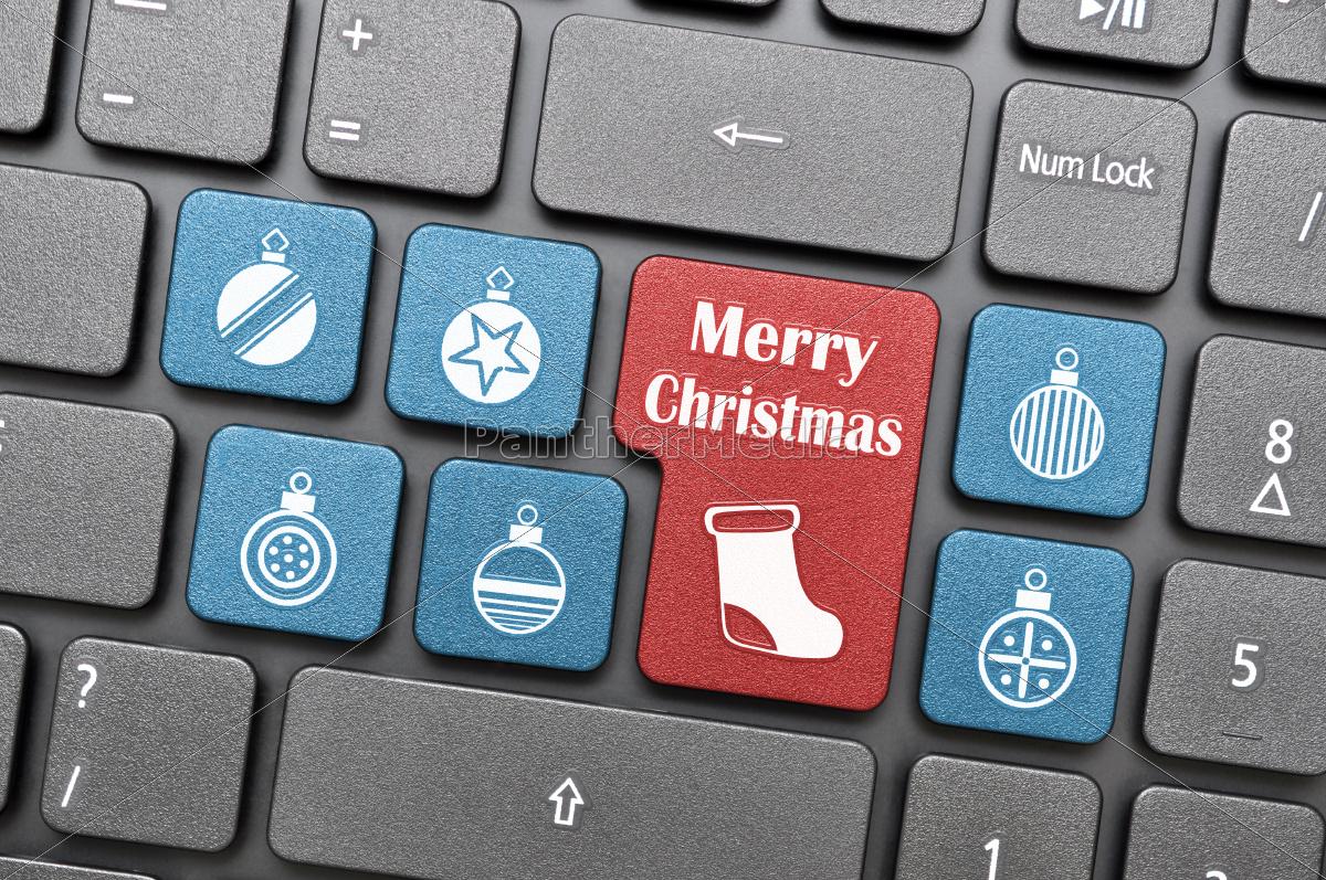 frohe weihnachten auf der tastatur stockfoto 10117905. Black Bedroom Furniture Sets. Home Design Ideas