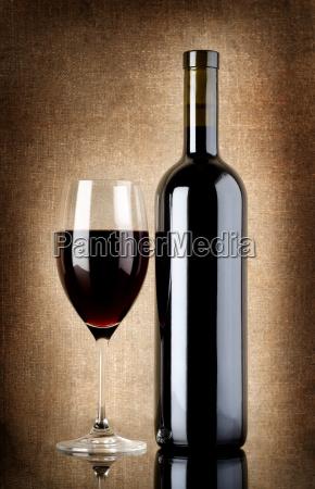 weinflasche, und, weinglas, auf, einer, alten - 10123533