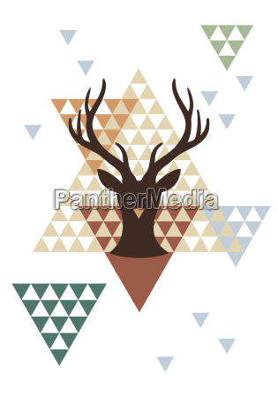 christmas deer with geometric pattern
