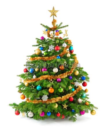 dichter bunt geschmueckter weihnachtsbaum