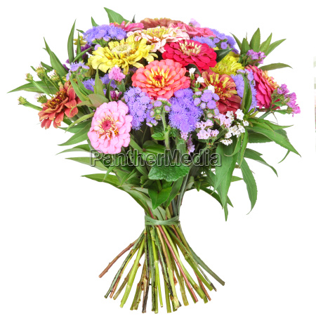 bouquet with colored zinnia