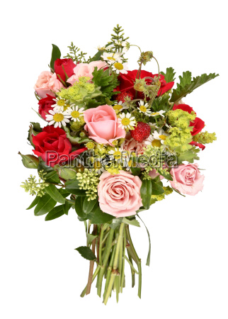 bouquet of roses and wild strawberries