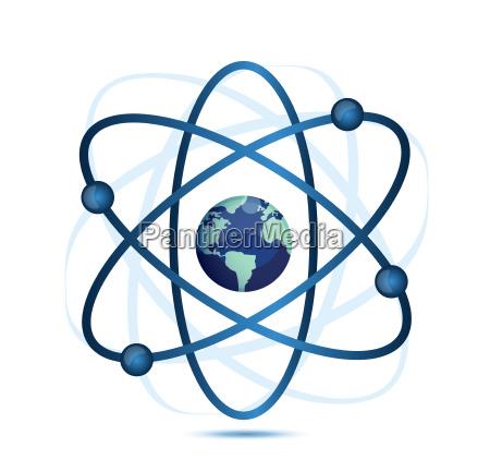 atomsymbol mit einer kugel in der