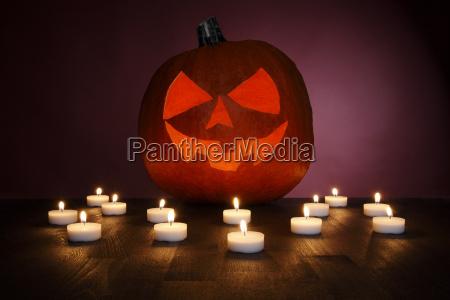 pumpkin with tea light