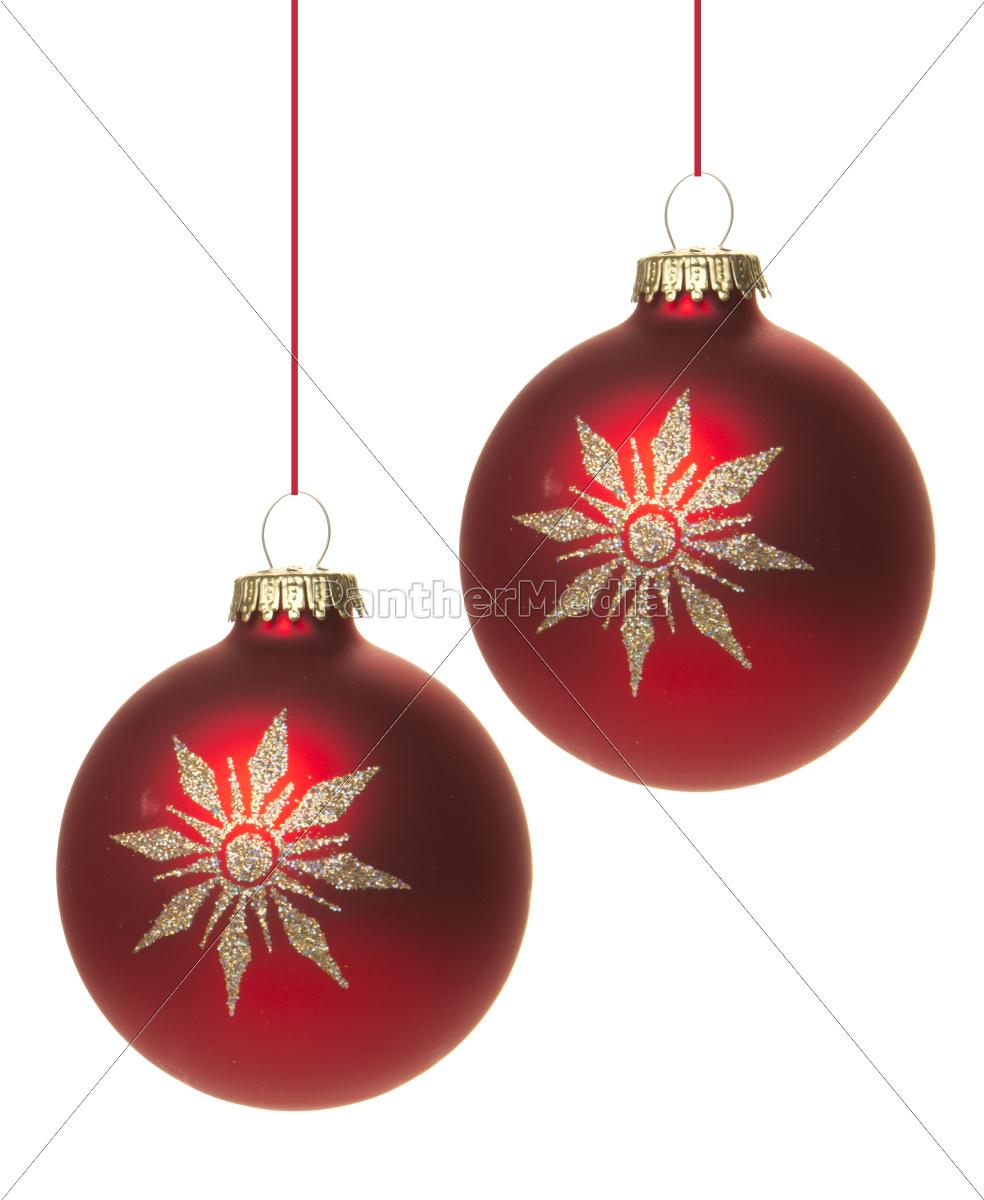 Große Rote Christbaumkugeln.Lizenzfreies Bild 10168475 Rote Christbaumkugeln Mit Weißem Stern Isoliert Hängend Mit