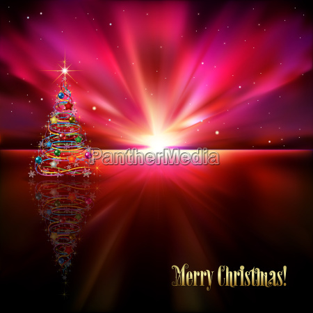 abstract greeting with christmas tree and
