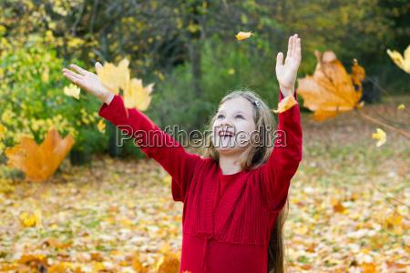 autumn leaves fall girl child park